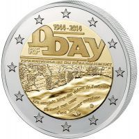 2014г. 2 евро. Франция. D-Day. Высадка в Нормандии, 70 лет.