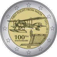 2015 г. 2 евро. Мальта. 100 лет первому авиаполёту с Мальты.
