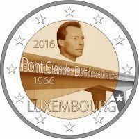 Люксембург 2 евро 2016 мост великой герцогини Шарлотты.