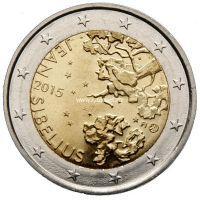 2015г. Финляндия. 2 евро. Ян Сибелиус.
