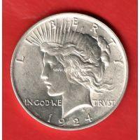 1924 год. США. Монета 1 доллар. Peace Dollar Серебро.
