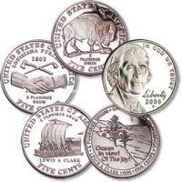 """Комплект из 5-ти монет - по 5 центов. Серия: """"Путешествие Джефферсона""""."""