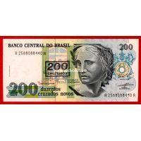 1990 год. Бразилия. Банкнота 200 Крузейро. Надпечадка.