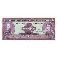 Венесуэла банкнота 10 боливаров 1995 года.
