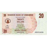 Зимбабве. 20 долларов. 2007 год.
