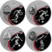2016 год. Россия набор 4 монеты. 3 рубля посвященные проведению в Российской Федерации Чемпионата мира по футболу FIFA 2018 года (серебро)