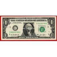 США банкнота 1 доллар 2013 года. (С - Филадельфия)