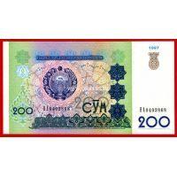 1997 год. Узбекистан. Банкнота 200 сум.