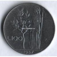 1957г. Италия. 100 лир. Богиня мудрости Минерва рядом с оливковым деревом.