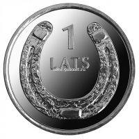 2010. Латвия. 1 лат. (UNC, никель) Подкова вверх