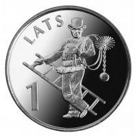 2008. Латвия. 1 лат. (UNC, никель) Трубочист