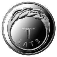 2009. Латвия. 1 лат. (UNC, никель) Кольцо Намейса