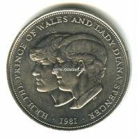 1981 год. Великобритания, 25 пенсов. Свадьба принца Чарльза и леди Дианы.