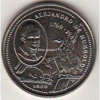 1989г. Куба. 1 Песо. 220 лет со дня рождения Александра фон Гумбольдта.