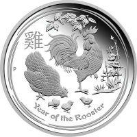 2017 год. Австралия. Монета 1 доллар. Год Петуха. серебро 1 унция.