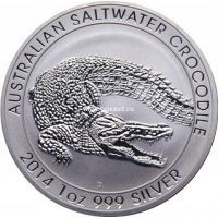 2014г. Австралия 1 доллар. Морской крокодил. Серебро 1 унция