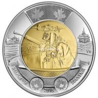 Канада 2 доллара 2016 года. 75-лет битвы за Атлантику.