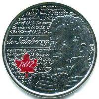 2013г. Канада. 25 центов.Герои Войны 1812 года. Шарль-Мишель де Салаберри. (Цветная эмаль)