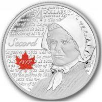 2013г. Канада. 25 центов.Герои Войны 1812 года. Лора Секорд.