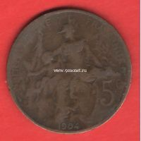 1904 год. Франция. Монета 5 сантимов.