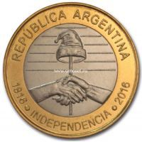 2016 год. Аргентина. 2 песо 200 лет Независимости.