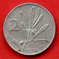 Италия 2 лиры 1954 года