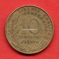 Франция 10 сантимов 1974 года.