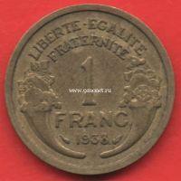Франция 1 франк 1938 года.