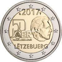 Люксембург 2 евро 2017 года добровольная военная служба.