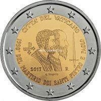 2017 год. Ватикан монета 2 евро. 1950 лет мученической смерти святых Петра и Павла.