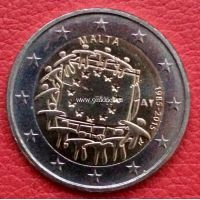 2015г. 2 евро. Мальта. 30 лет флагу Европы.
