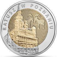 2015 год. Польша. монета. 5 злотых. Ратуша в Познани