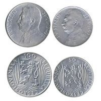 Набор из 2 монет. 100 крон и 50 крон 1949 года. Чехословакия. Сталин.