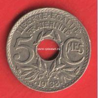 1938 год. Франция монета 5 сантимов.