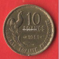 1951 год. Франция монета 10 франков