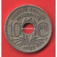 1927 год. Франция монета 10 сантимов.