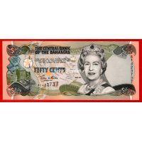 Багамские Острова банкнота 1/2 доллара (50 центов) 2001 года.