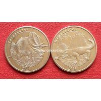 2016 год. Майотта набор 2 монеты. 1 франк (динозавры)