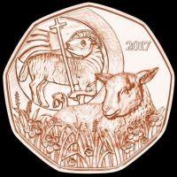 2017 год. Австрия монета 5 евро. Пасхальный ягненок.
