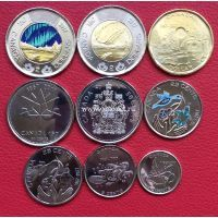 2017 год. Канада набор 9 монет. 150 лет Конфедерации Канады.