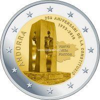 Андорра 2 евро 2018 года 25 лет Конституции Андорры.