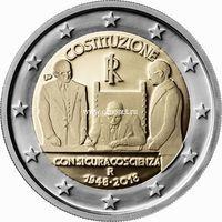 Италия 2 евро 2018 года 70 лет конституции Итальянской Республики.