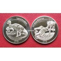 Майотта набор 2 монеты 1 франк 2018 года (динозавры)