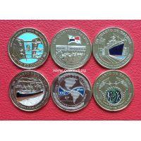 Панама набор 6 монет 2016 года 14 бальбоа. 100 лет панамскому каналу