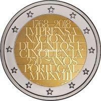 Португалия 2 евро 2018 года 250 лет Официальной типографии.