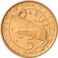 Сан-Марино 5 евро 2018 года Овен серия знаки зодиака.