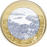 Финляндия 5 евро 2018 года Хельсинкский морской пейзаж.