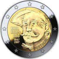 Португалия 2 евро 2017 года 150 лет со дня рождения писателя Раула Брандана