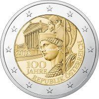 Австрия 2 евро 2018 года 100 лет Австрийской Республике.