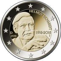 Германия 2 евро 2018 года Гельмут Шмидт